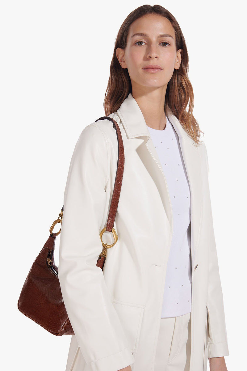 STAUD ASHLEY COAT | IVORY VEGAN LEATHER