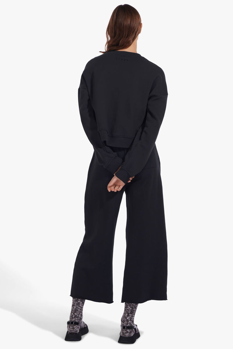 STAUD CREW NECK CROPPED SWEATSHIRT | BLACK