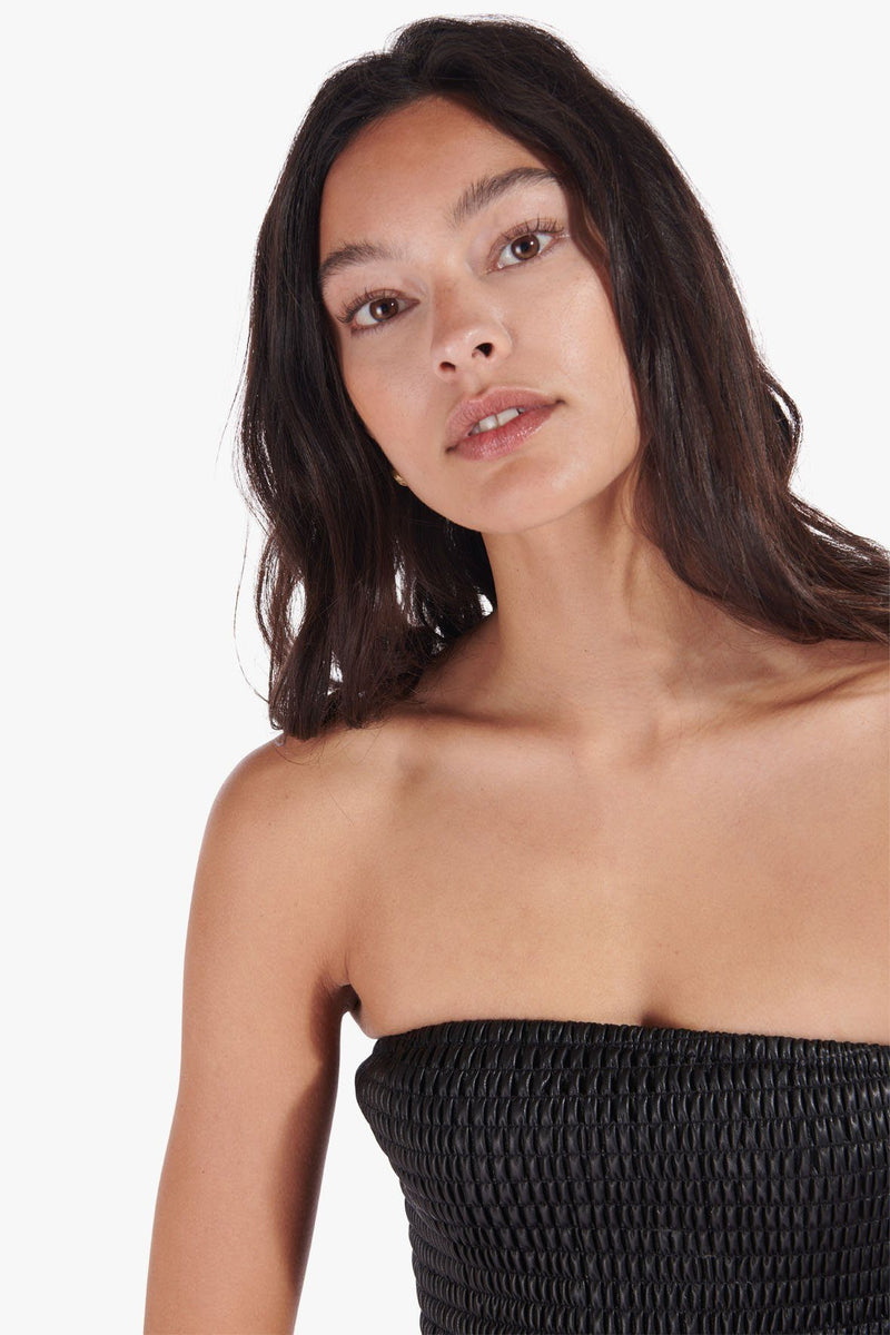 STAUD DAVIS TOP | BLACK VEGAN LEATHER