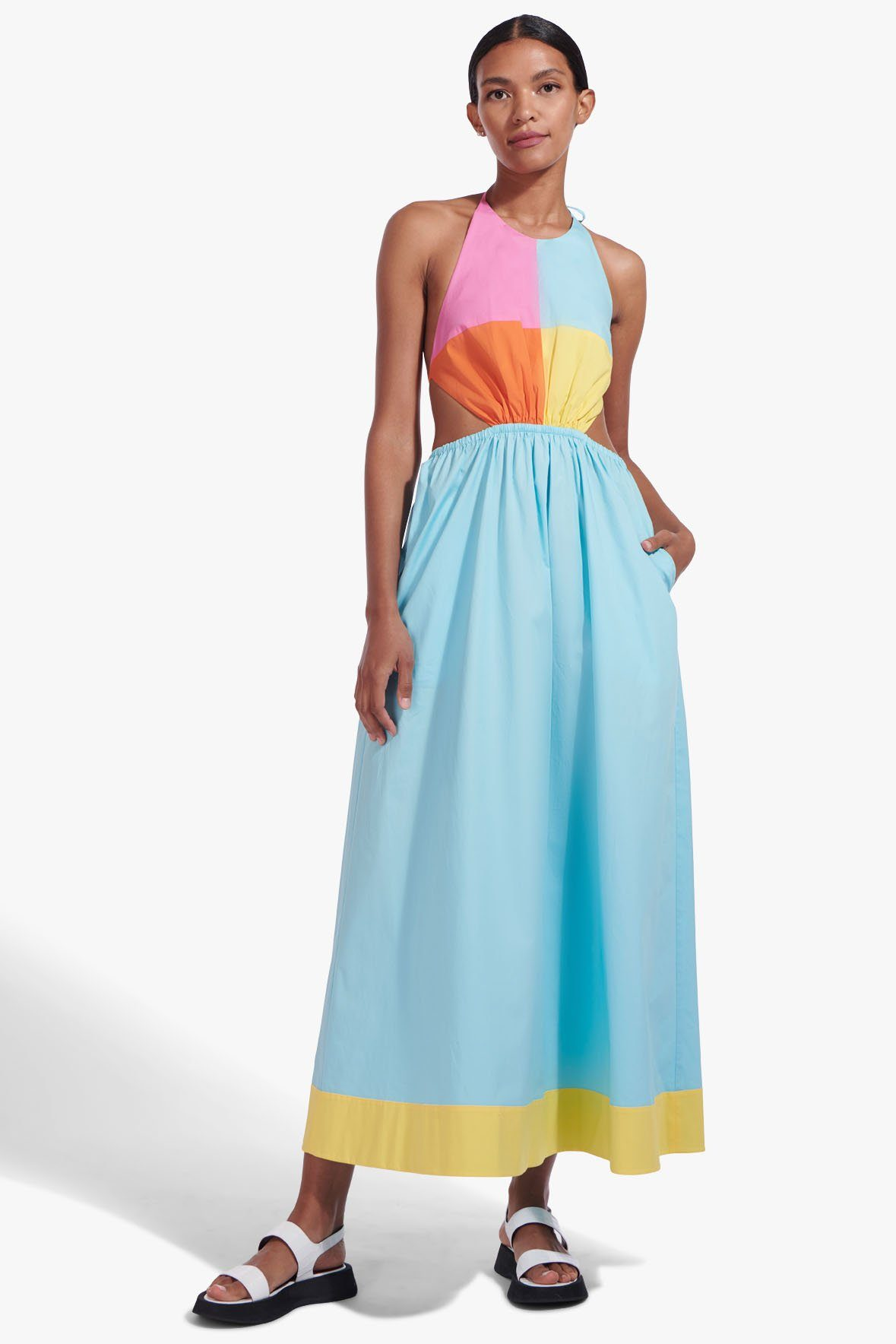 STAUD ELIANA DRESS | TURQUOISE MULTI