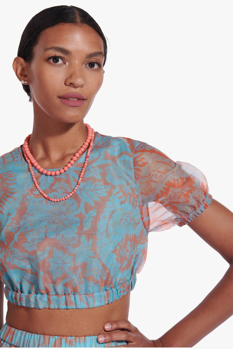 STAUD FRIEZE TOP | FLORAL WAVE TURQUOISE