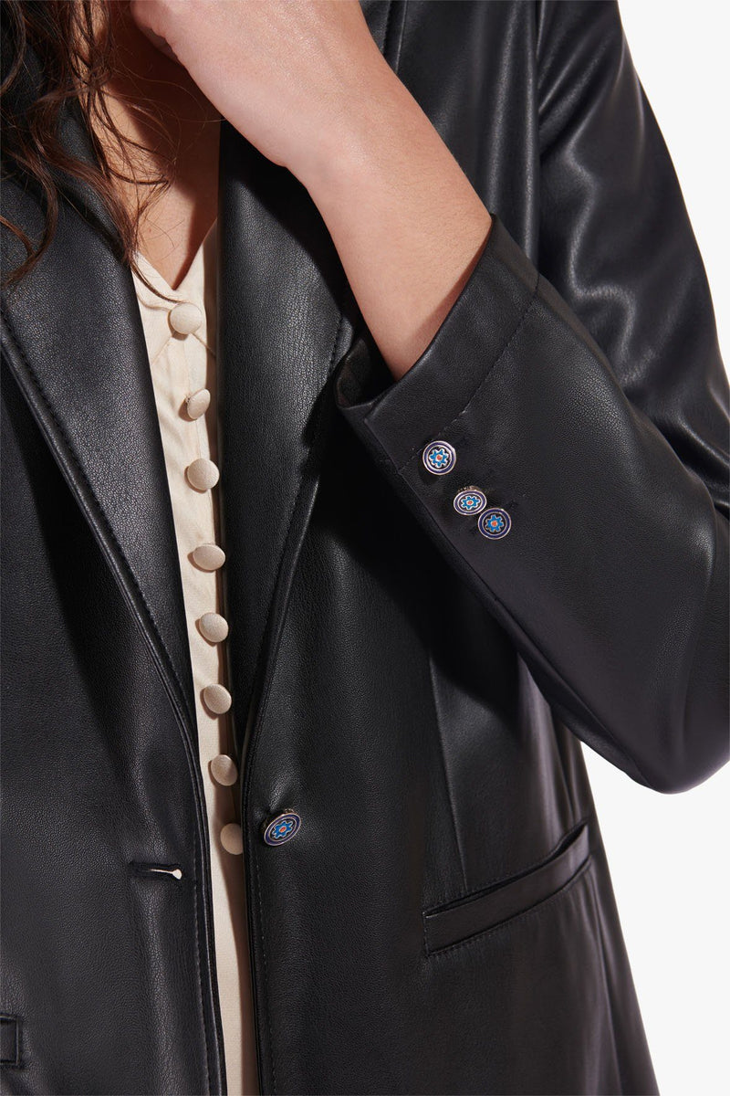 STAUD MADDEN BLAZER | BLACK VEGAN LEATHER