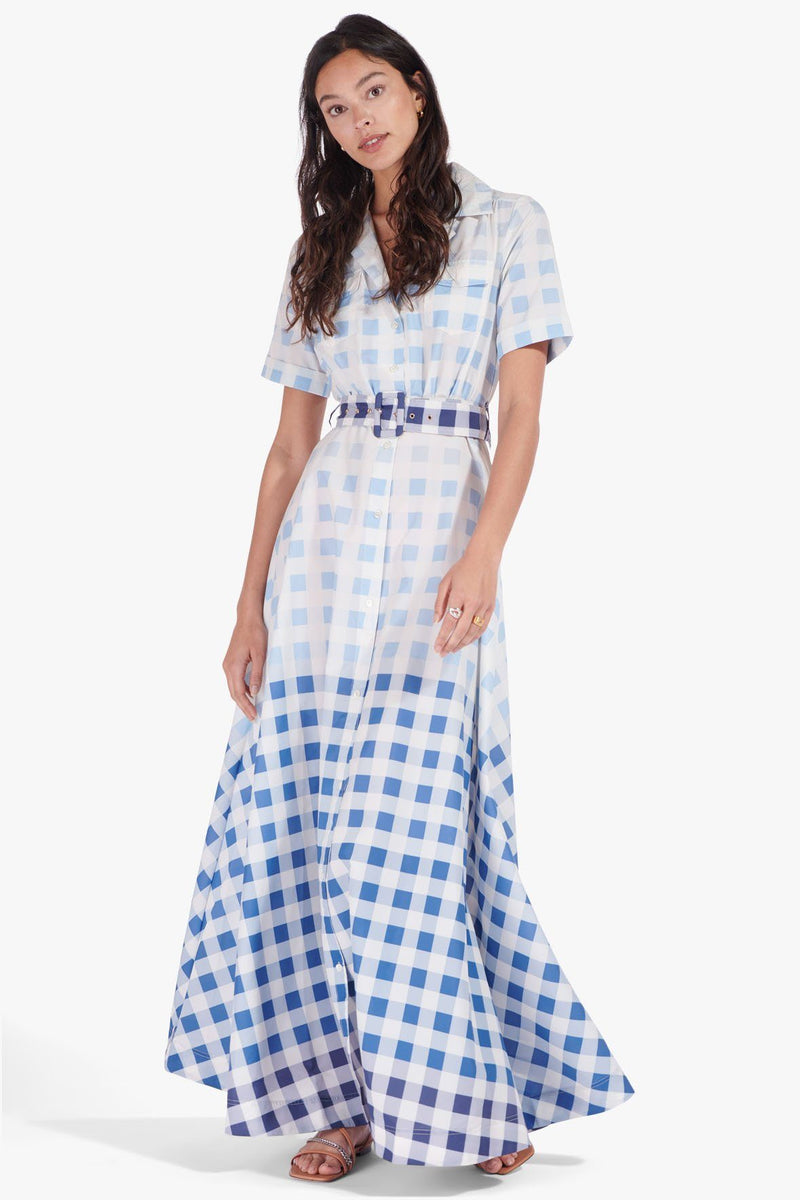 STAUD MILLIE DRESS | BLUE OMBRE GINGHAM