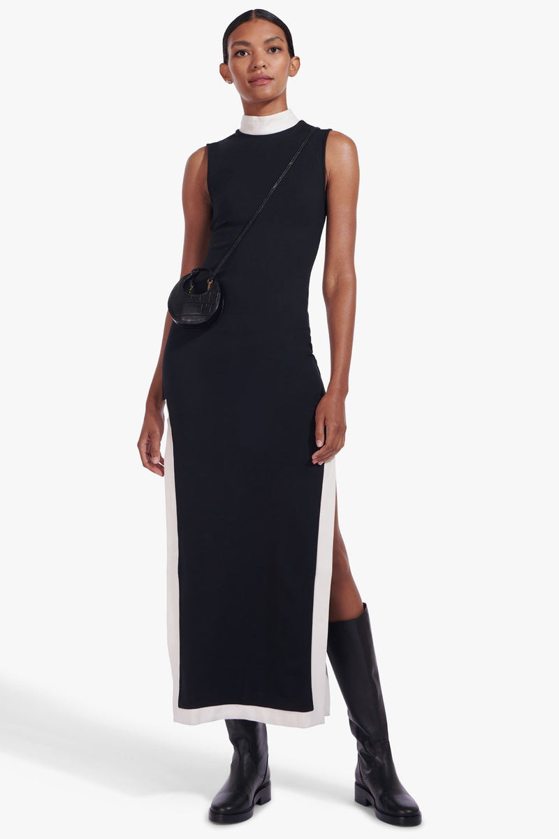 STAUD NOIR DRESS | BLACK WHITE