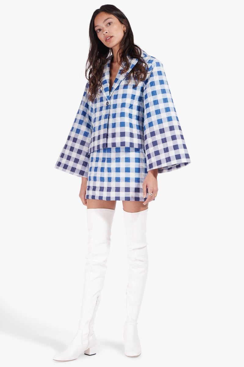 STAUD PINOT SKIRT | BLUE OMBRE GINGHAM