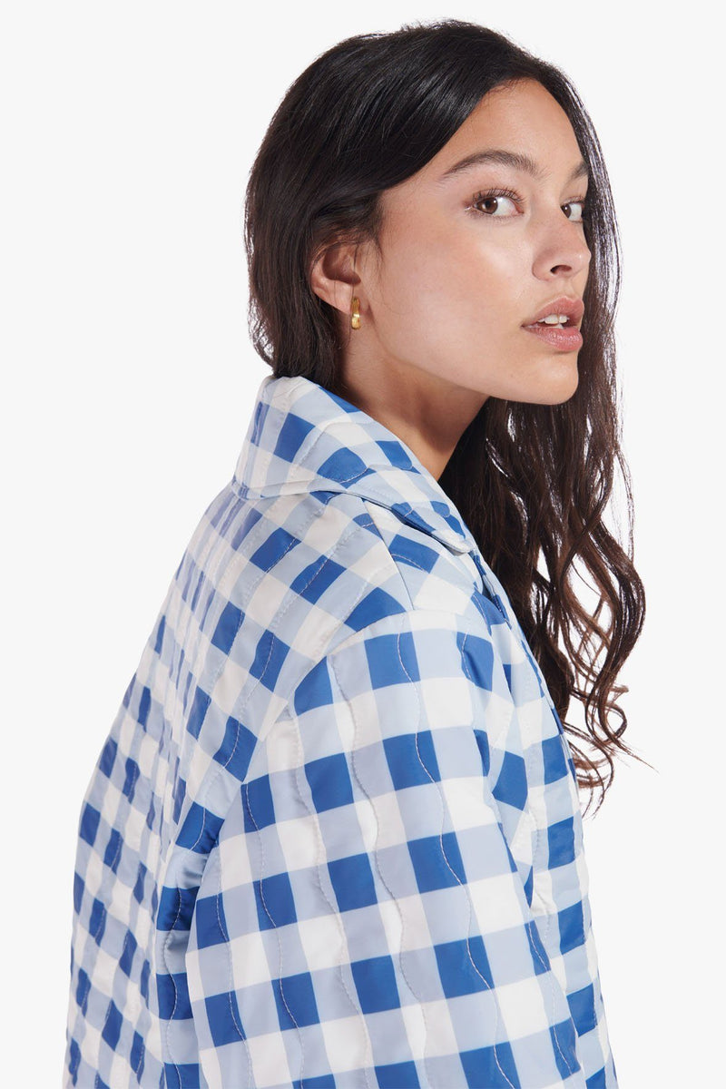 STAUD RIDER JACKET | BLUE OMBRE GINGHAM