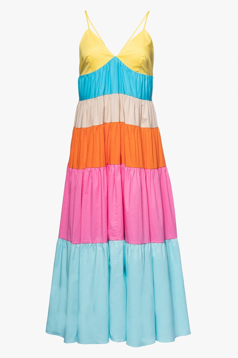 STAUD CLEO DRESS | TURQUOISE MULTI