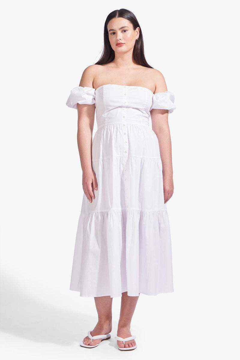 STAUD ELIO DRESS | WHITE