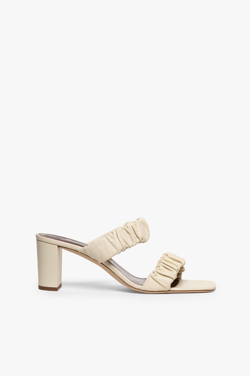 STAUD FRANKIE RUCHED SANDAL | CREAM