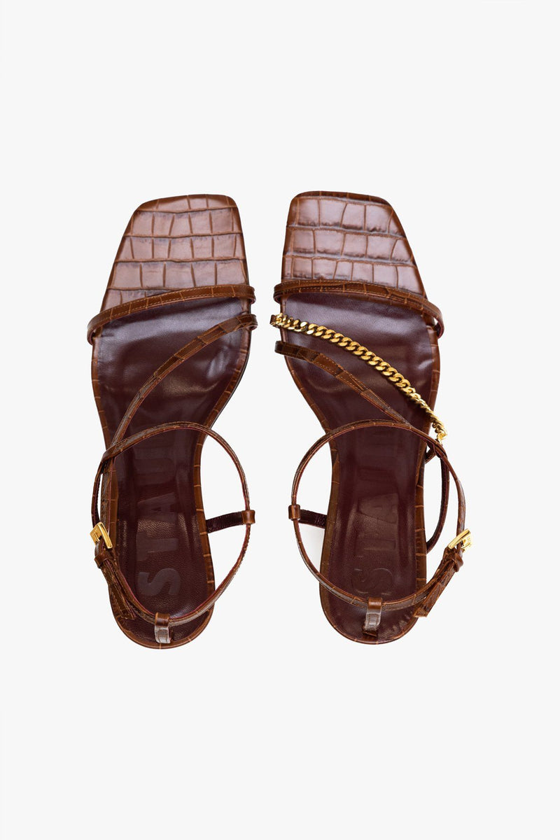 STAUD GITA CHAIN SANDAL | SADDLE CROC EMBOSSED GOLD CHAIN