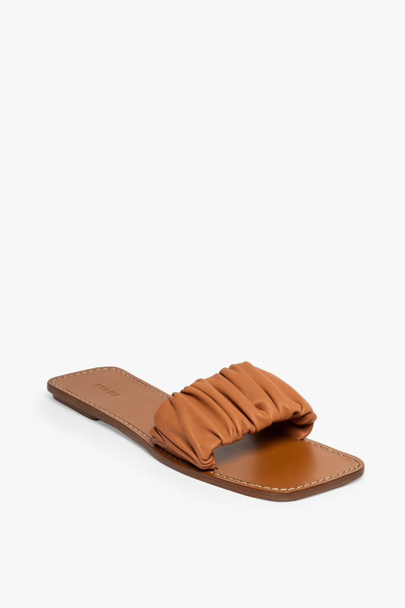STAUD NINA RUCHED SANDAL | TAN