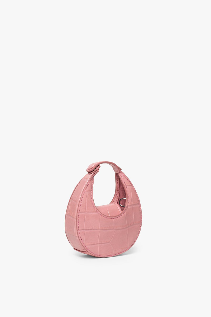 STAUD MICRO MOON BAG | GERANIUM CROC EMBOSSED