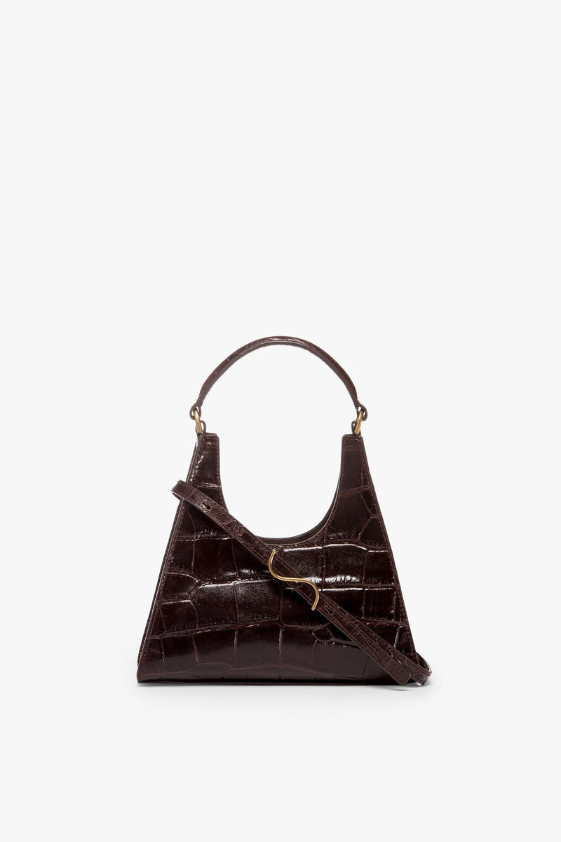 STAUD MINI CROSSBODY REY BAG | BROWN CROC EMBOSSED
