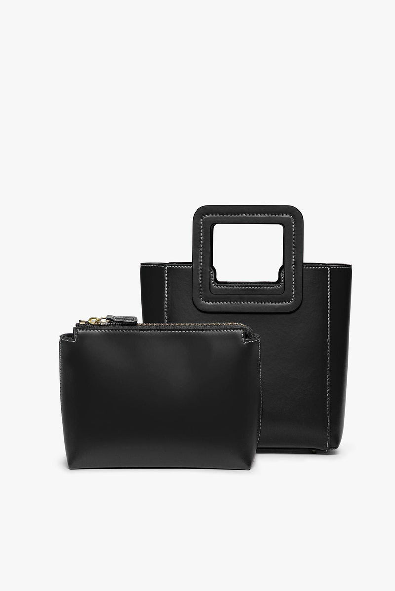 STAUD MINI SHIRLEY LEATHER BAG | BLACK