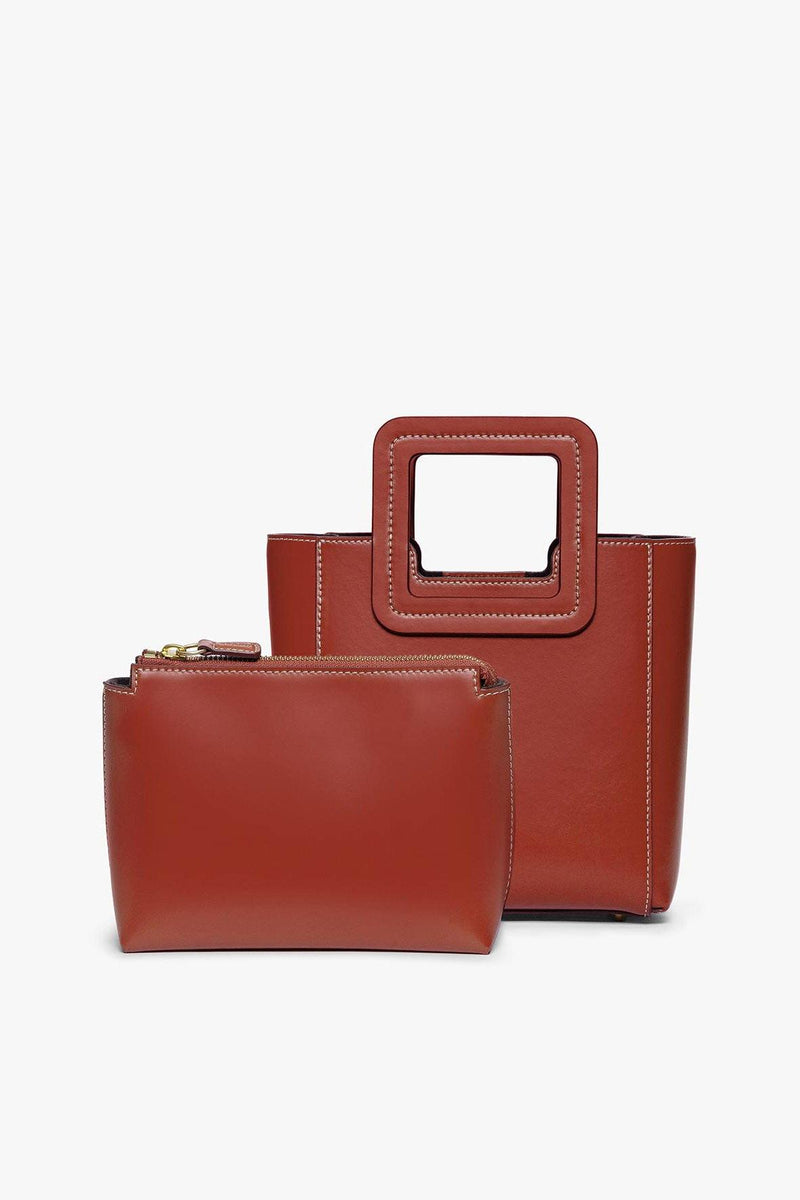 STAUD MINI SHIRLEY LEATHER BAG | COGNAC