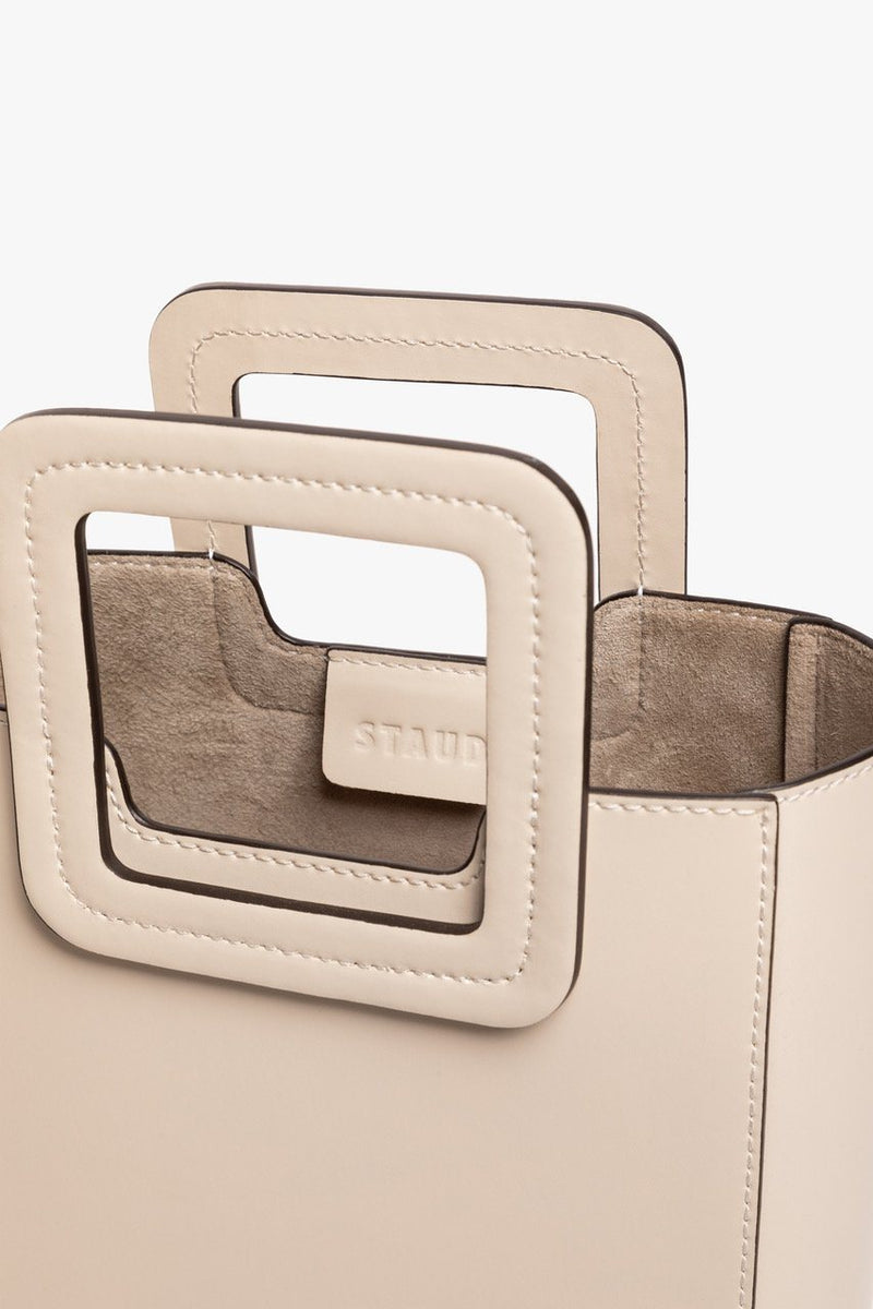 STAUD MINI SHIRLEY LEATHER BAG | CREAM