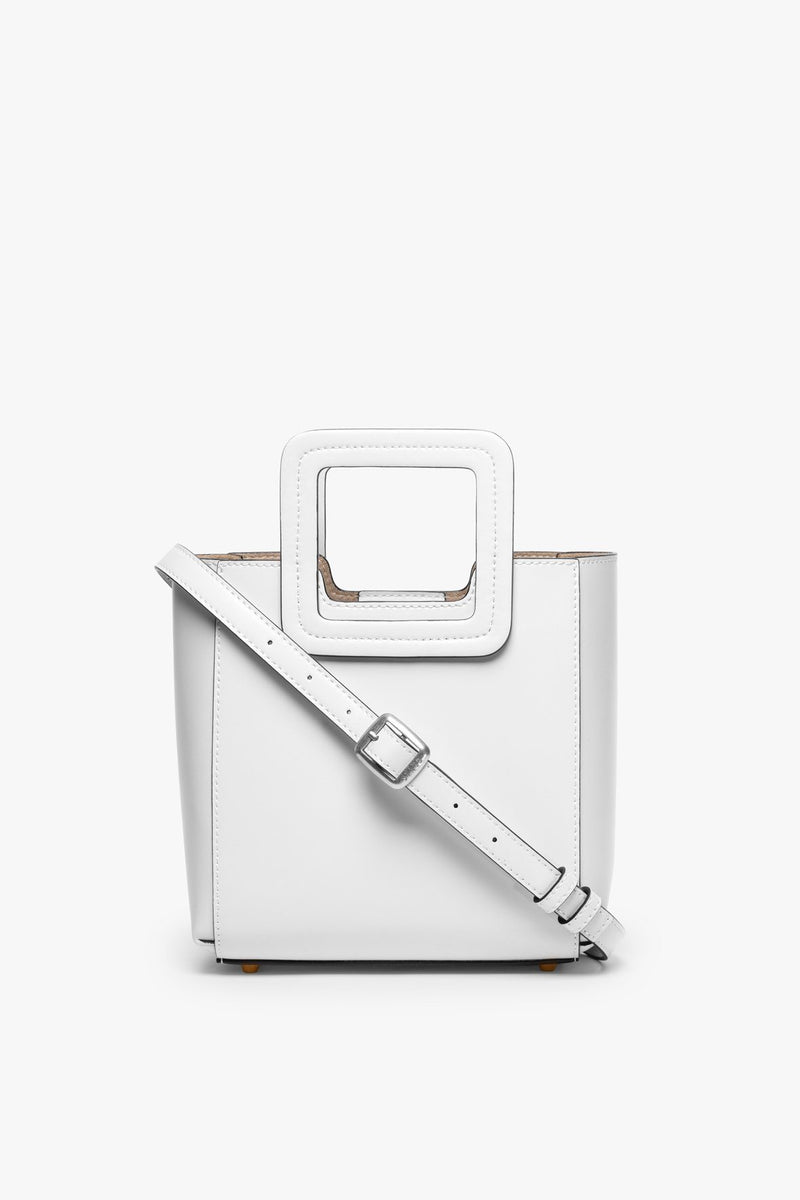 STAUD MINI SHIRLEY LEATHER BAG | FRESH WHITE