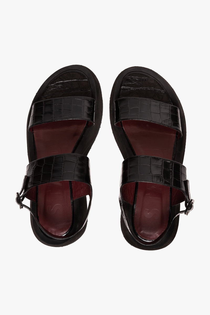 STAUD NICKY SANDAL | BLACK CROC EMBOSSED