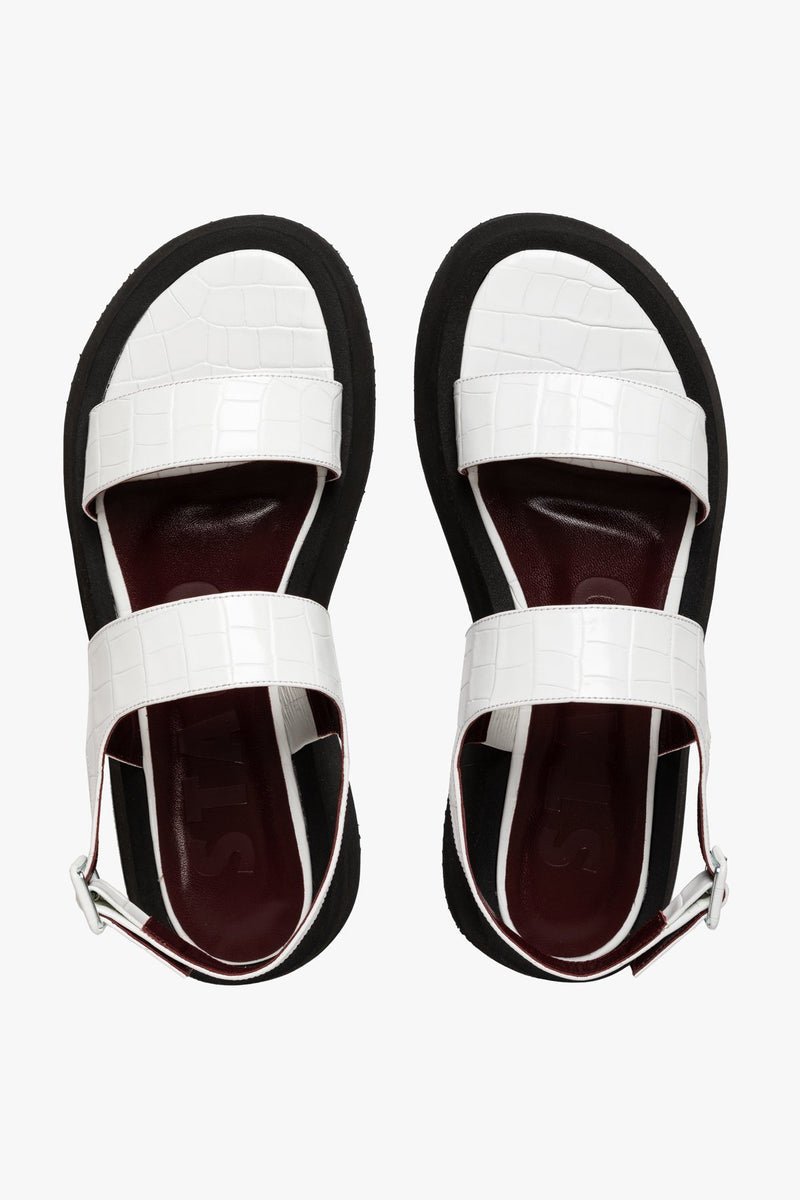 STAUD NICKY SANDAL | FRESH WHITE CROC EMBOSSED