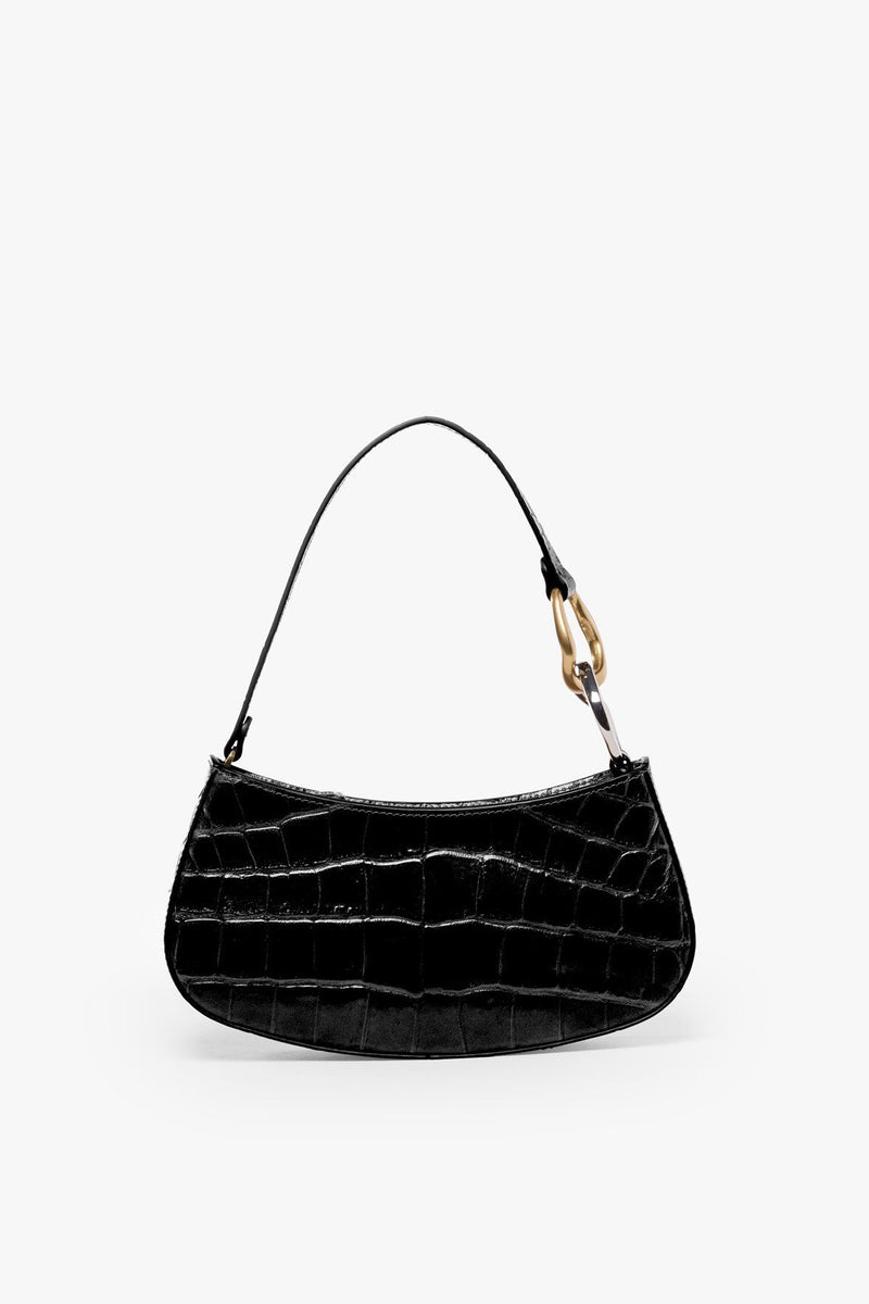 STAUD OLLIE BAG | BLACK CROC EMBOSSED