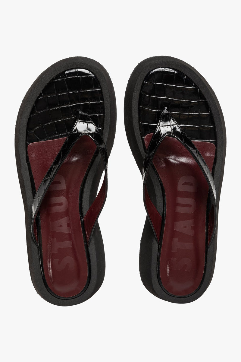 STAUD TESSA SANDAL | BLACK CROC EMBOSSED