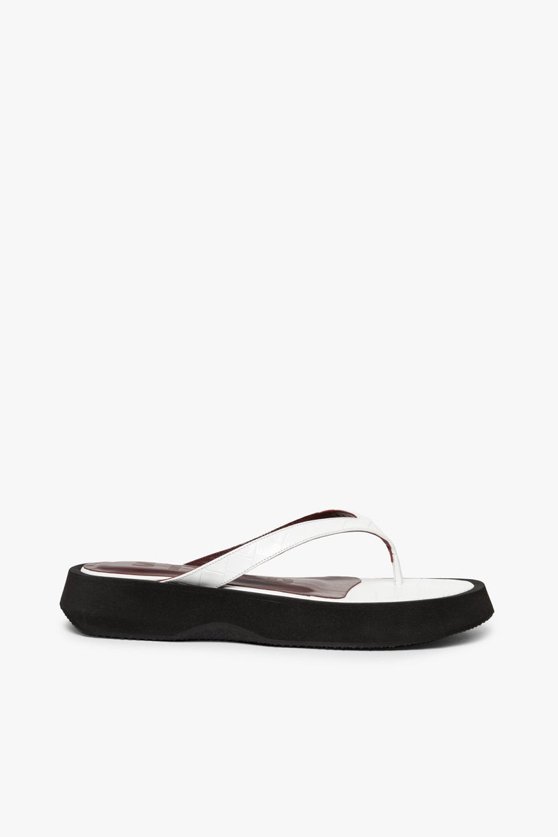 STAUD TESSA SANDAL | FRESH WHITE CROC EMBOSSED