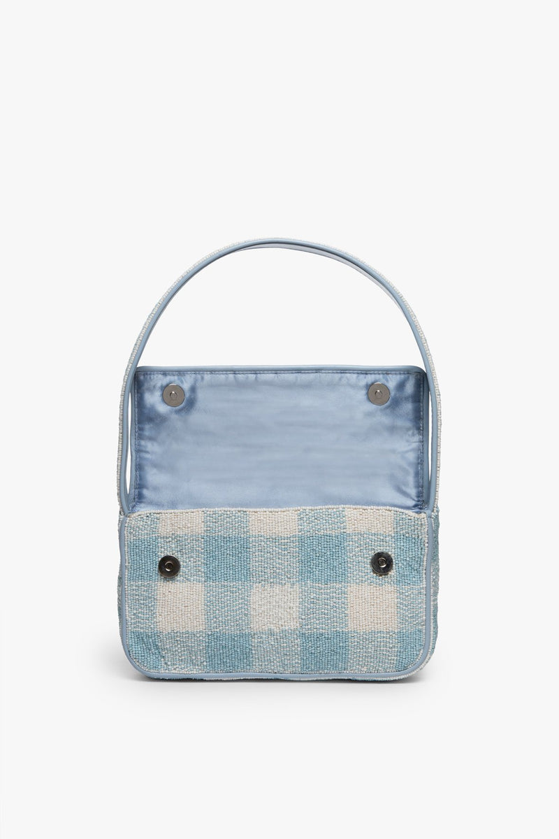 STAUD TOMMY BEADED BAG | ARCTIC BLUE WHITE