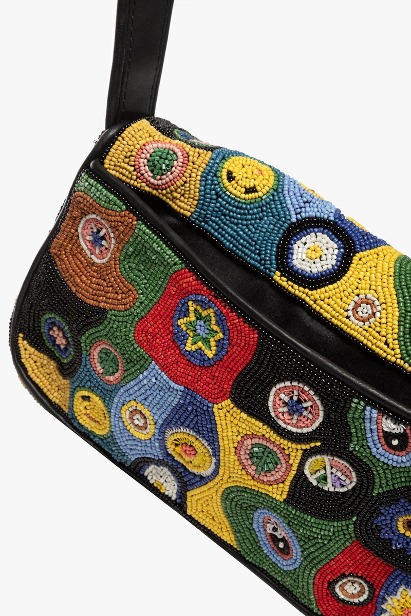 STAUD TOMMY BEADED BAG | BLACK MILLEFIORI