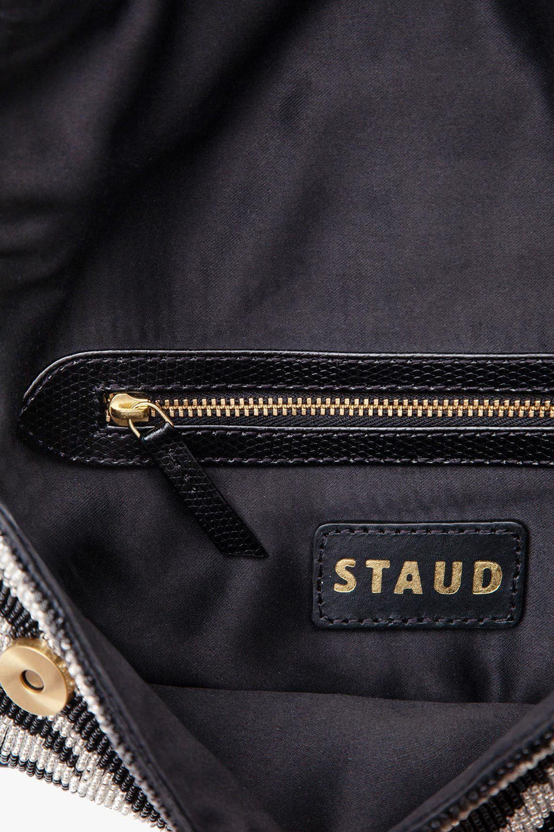 STAUD TOMMY BEADED BAG | BLACK WHITE