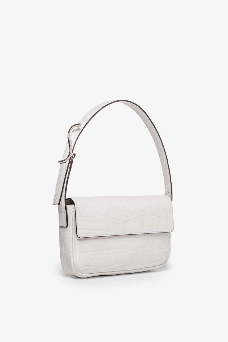 STAUD TOMMY LEATHER BAG | FRESH WHITE CROC EMBOSSED