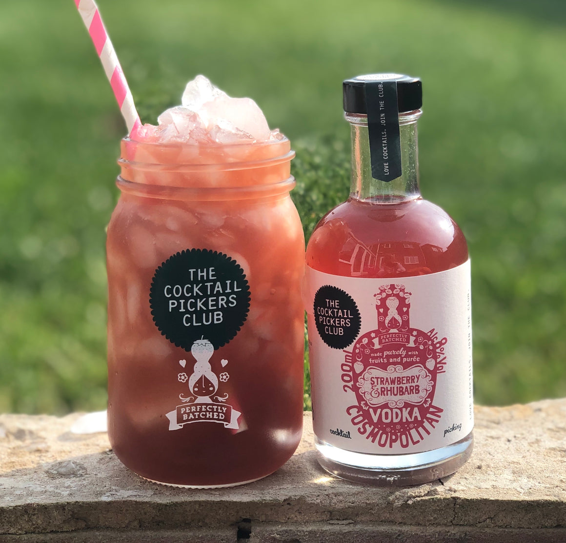 'Mini Pickers' Strawberry and Rhubarb Vodka Cosmopolitan 200ml PLUS jar!