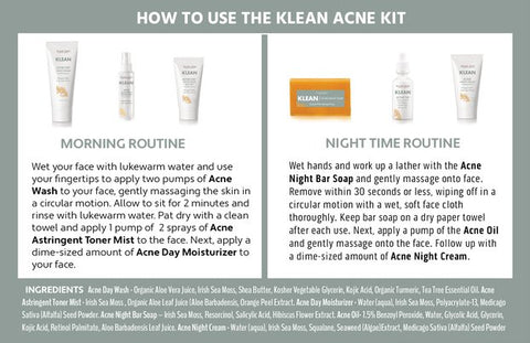 Klean Acne Kit how to use