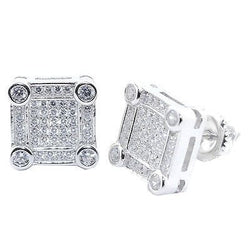 10.5MM Wide Cubic Zarconia Earrings Silver Large Square