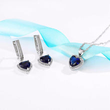 Elegant Heart-Shaped Sapphire Necklace and Earring Set