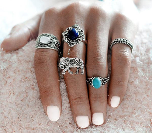 Tri-Stone 'Elephant-Themed' Knuckle Midi Ring Set
