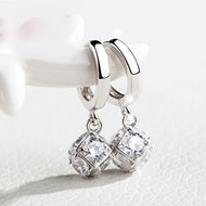 White Gold Crystal Zircon Drop Earrings