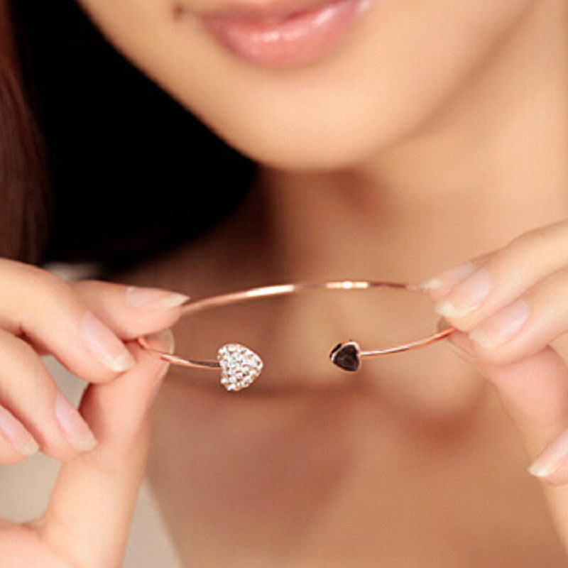 Chic, Heart-Shaped Bangle Bracelet
