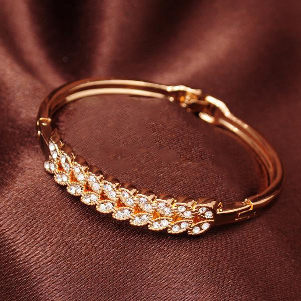 Dazzling Dual-Crystal-Layered Bangle Bracelet