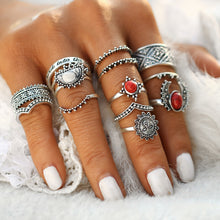 'Moon and Sun' Red Stone Full-Finger Ring Set