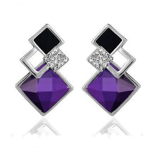 Classic Long-Square Crystal Stud Earrings