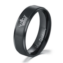 Black 'Her King' and 'His Queen' Romantic Rings