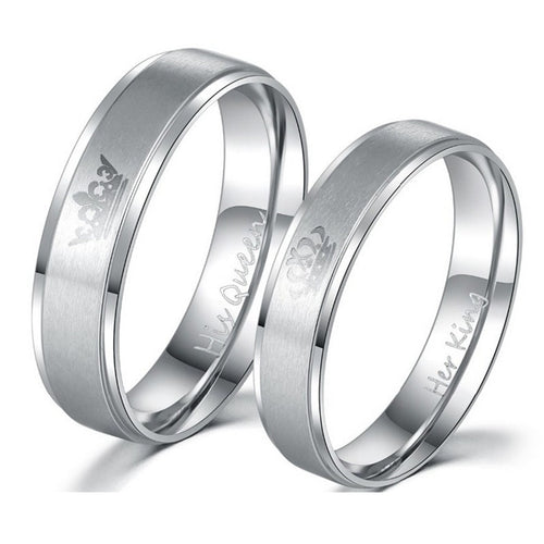 Silver 'Her King' and 'His Queen' Romantic Rings