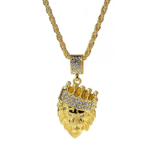 Crowned Lion Crystal Pendant Necklace