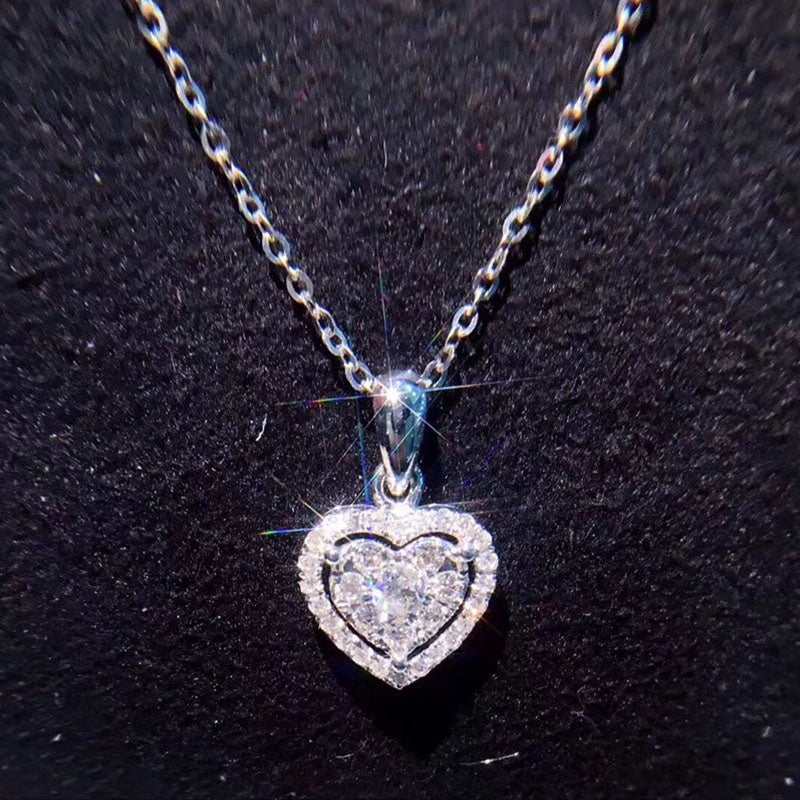 Heart-Shaped Diamond Pendant Necklace