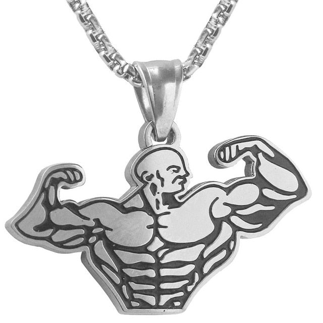 Muscle Man Sports Fitness Pendant Necklaces
