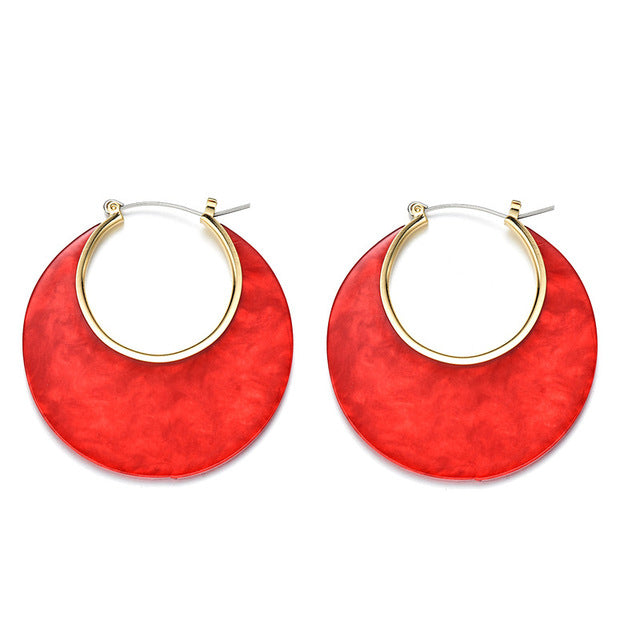'Red Moon' Hoop Earrings
