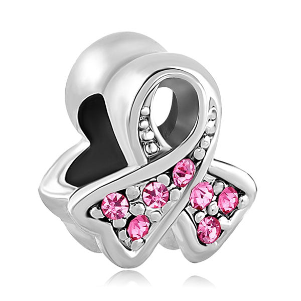Breast Cancer Awareness Pink Ribbon Charm