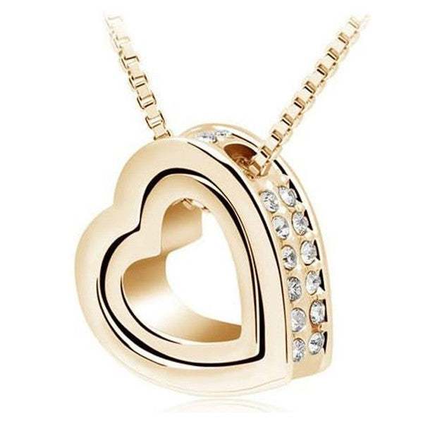 Stunning Double Heart Crystal Pendant Necklace