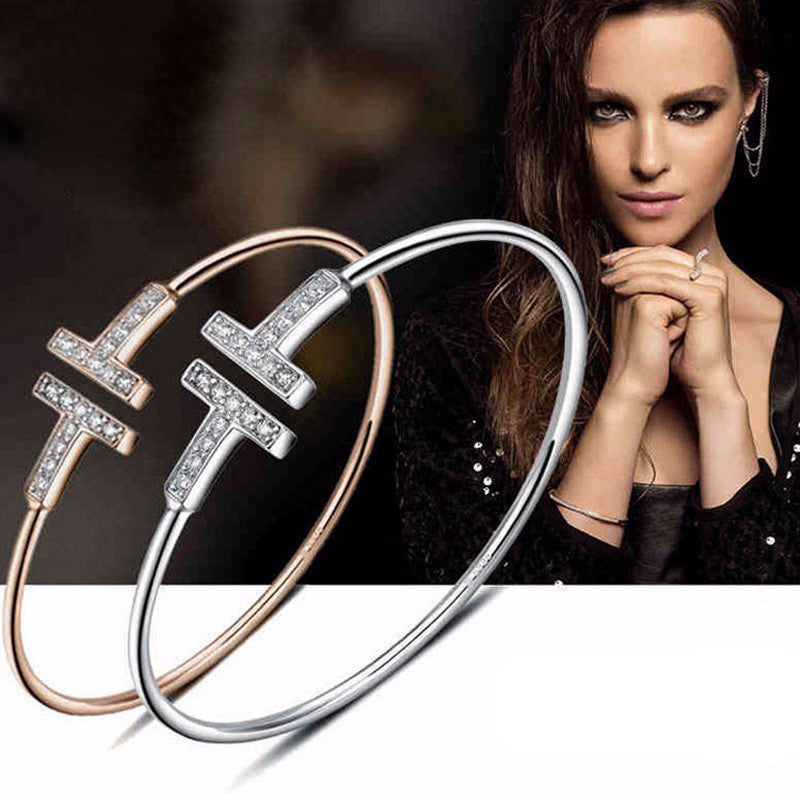 'Double T' Adjustable Bangle Bracelets