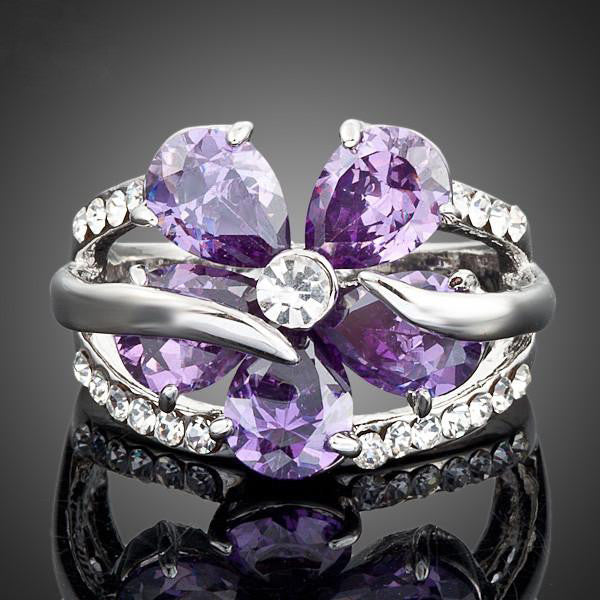 Platinum-Plated 'Purple Flower' Ring
